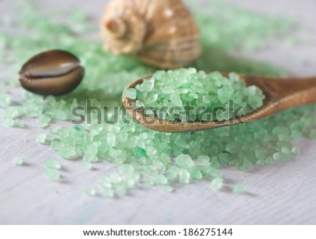 aromatic salt bath on a wooden spoon and seashells - stock photo