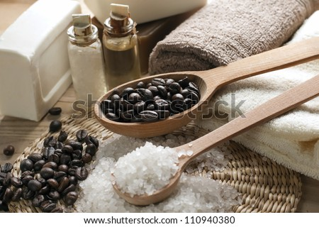 Aromatic spa coffee set with sea salt and soap - stock photo
