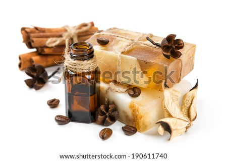 Aromatic spa. Handmade soap, cinnamon and dried flower. - stock photo