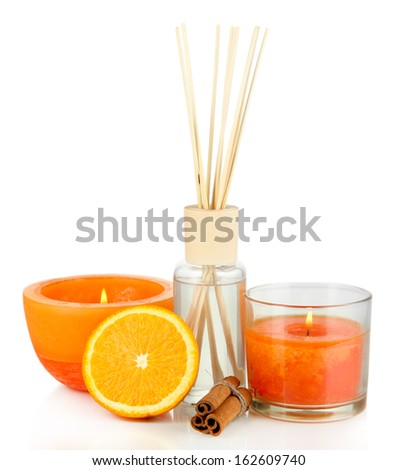 Aromatic sticks for home with fruity odor isolated on white - stock photo