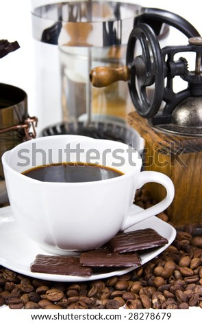 aromatic sweet coffee in white background
