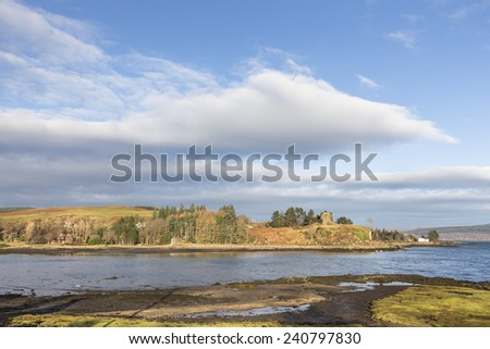 Aros Castle ruins on the isle of Mull in Scotland. - stock photo