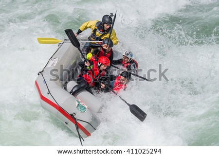 AROUCA, PORTUGAL - APRIL 23: Grey raft team at the Paivafest on april 23, 2016 in Arouca, Portugal. - stock photo