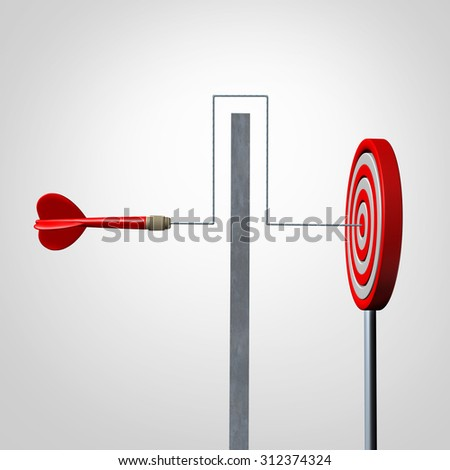 Around a barrier business concept as a red dart solving an obstacle problem by averting a wall and hitting the target as a success metaphor for agility and dexterity in achieving your goal. - stock photo