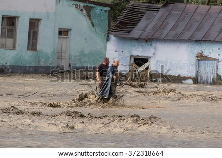 Around Sioni, Georgia - May 12, 2014: Every spring Caucasian river Terek floods Transcaucasian Highway runs between Tbilisi and Vladikavkaz. Terek River is a major river in the Northern Caucasus. - stock photo