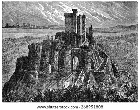 Arques castle ruins with its keep, vintage engraved illustration. Industrial encyclopedia E.-O. Lami - 1875.  - stock photo