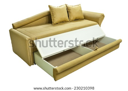 Arranged bed over white background. Colorful  couch. Yelow.