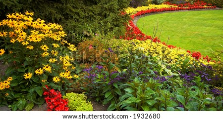 Arranged flowers and lawn in Vancouver Queen Elizabeth Park. More with keyword group14h