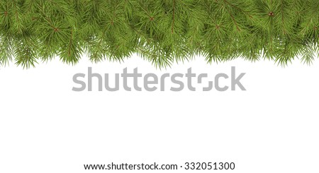 Arranged Green Fir Tree Branches Panorama - Fir Branch Banner with Copy Space for Own Design. Firs with Needle at Top. Horizontal Greeting Card Background Template. Website - Homepage Head Decor - stock photo