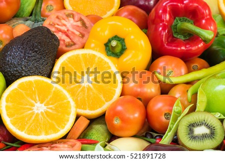 Arrangement Fresh fruits and vegetables for healthy