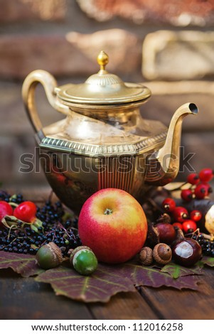 arrangement of autumnal fruits on leaves in front of an old brick wall - stock photo