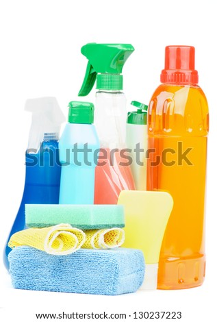 Arrangement of Cleaning Products with Spray Bottles, Disinfectant and Sponges isolated on white background