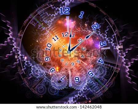 Arrangement of clock hands, gears, lights and abstract design elements on the subject of time sensitive issues, deadlines, scheduling, temporal processes, past, present and future - stock photo