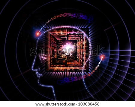 Arrangement of head outlines, lights and abstract design elements on the subject of intelligence,  consciousness, logical thinking, mental processes and brain power