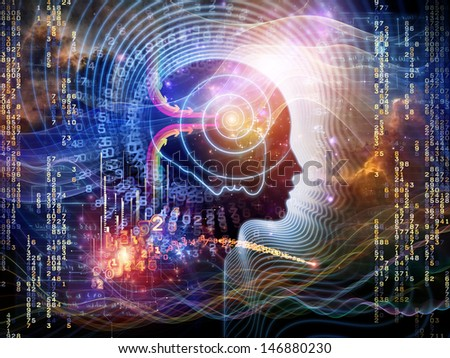 Arrangement of human feature lines and symbolic elements on the subject of human mind, consciousness, imagination, science and creativity - stock photo