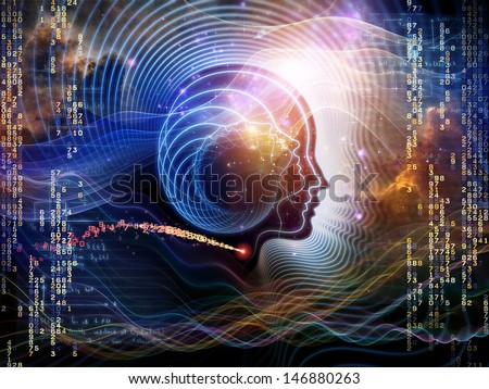 Arrangement of human feature lines and symbolic elements on the subject of human mind, consciousness, imagination, science and creativity