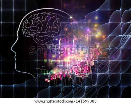 Arrangement of human head, brain and numeric design element on the subject of science, education and technology