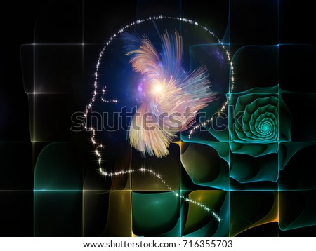 Arrangement of human profiles, lights and fractal textures on the subject of thinking mind