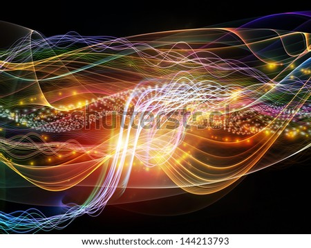 Arrangement of lights, fractal and custom design elements on the subject of signals, networking, communication technologies and motion