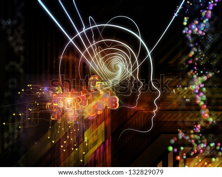 Arrangement of lines of human head, fractal grids and technology related symbols on the subject of artificial intelligence, science, education and technology