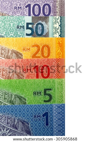 Arrangement of Malaysian Ringgit notes - stock photo