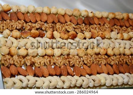 Arrangement of nuts - stock photo
