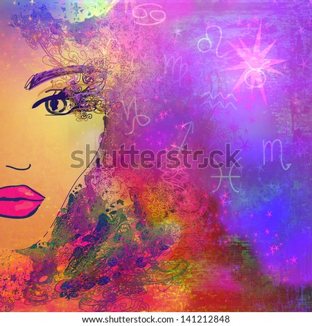 Arrangement of outline of human head and astrology symbols - stock photo