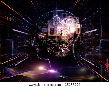 Arrangement of outline of human head and symbolic elements on the subject of knowledge, science, technology and education - stock photo
