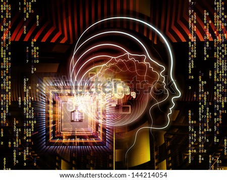 Arrangement of outlines of human head, technological and fractal elements on the subject of artificial intelligence, computer science and future technologies - stock photo