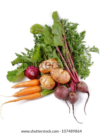 Arrangement of Raw Organic Farmer's Potato, Carrot, Red Onion and Beet isolated on white background - stock photo