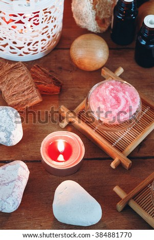Arrangement of Spa Treatment and Aromatherapy Essential Oils for Relaxation and Wellness. Selective Focus. Close-up View. - stock photo