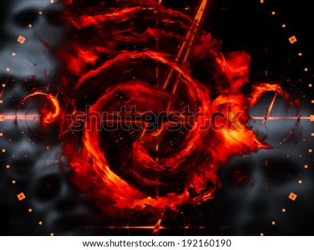 Arrangement of time symbols, ghostly faces and vivid red clouds on the subject of approaching war, carnage and death - stock photo