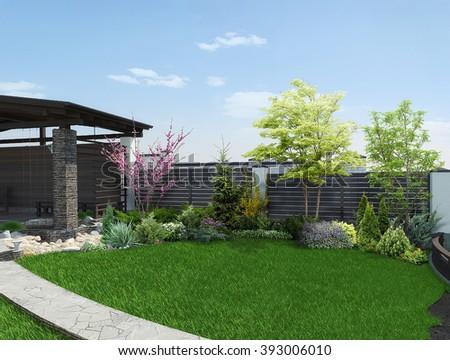Arrangement patio living space, 3d render - stock photo