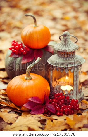 Arrangement with pumpkins and lantern - stock photo