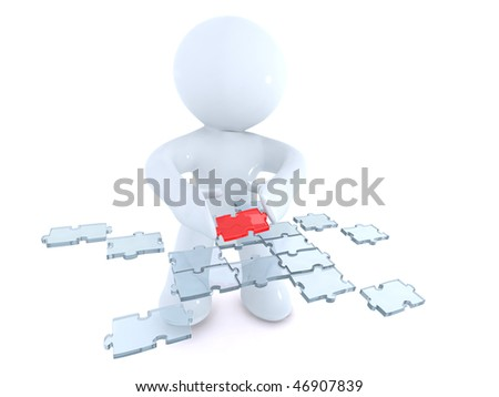 Arranging the Puzzle - stock photo