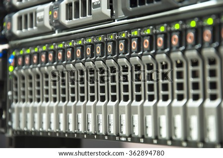 Array disk storage in data center with depth of field - stock photo