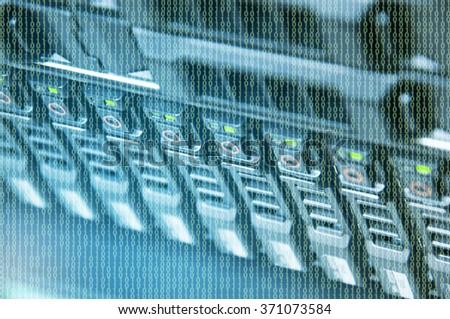 Array disk storage in data center with depth of field from top view - stock photo