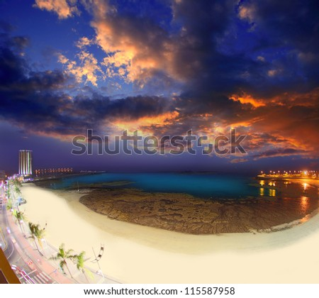 Arrecife Lanzarote Playa del Reducto beach aerial night view in Canary Islands - stock photo