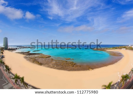 Arrecife Lanzarote Playa del Reducto beach aerial   view in Canary Islands - stock photo