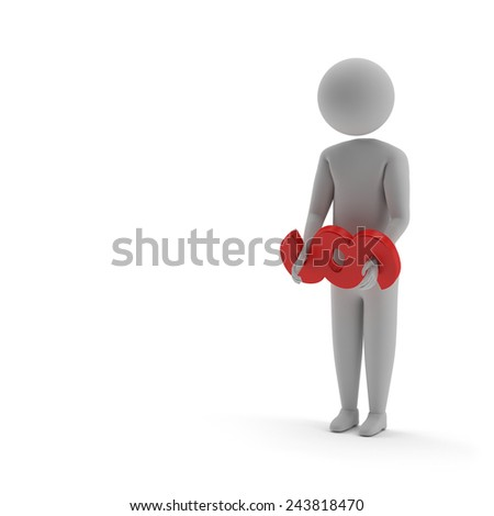 arresting a stickman with the paragraph sign - stock photo