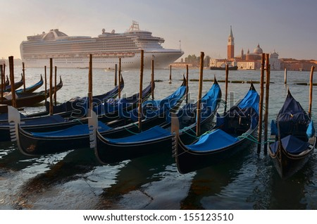 Arrival of a cruise ship to Venice - stock photo