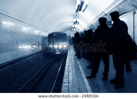 arrival subway train - stock photo