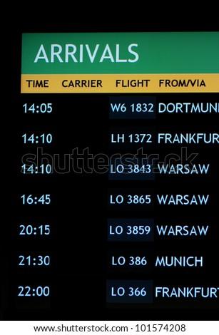 arrivals board - stock photo