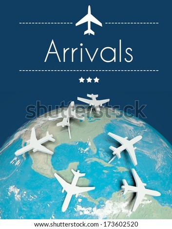 Arrivals concept, airplanes on globe - stock photo
