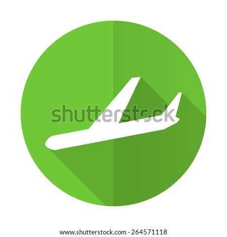 arrivals green flat icon plane sign - stock photo