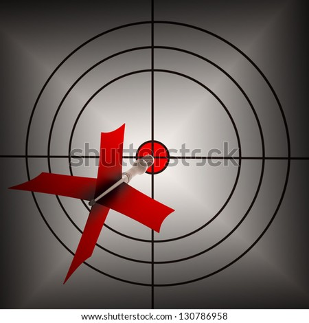 Arrow Aiming On Dartboard Shows Aiming Accuracy And Shooting Precision - stock photo