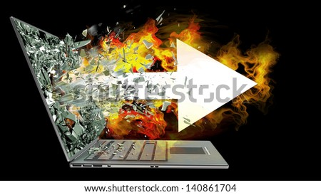arrow and fire exit by a monitor of laptop screen isolated on black background. High resolution 3d - stock photo