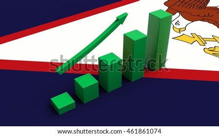 Arrow and growth bars on top of a American Samoa Flag. 3D illustration