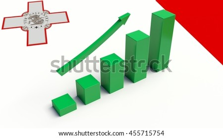Arrow and growth bars on top of a Malta Flag. 3D illustration.