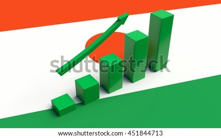 Arrow and growth bars on top of a Niger Flag. 3D illustration.
